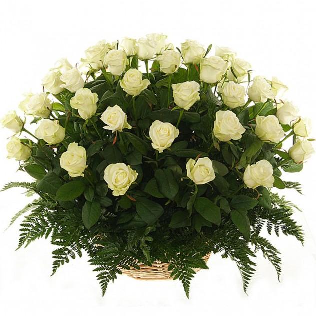 Корзина из 51 белой розы № 5